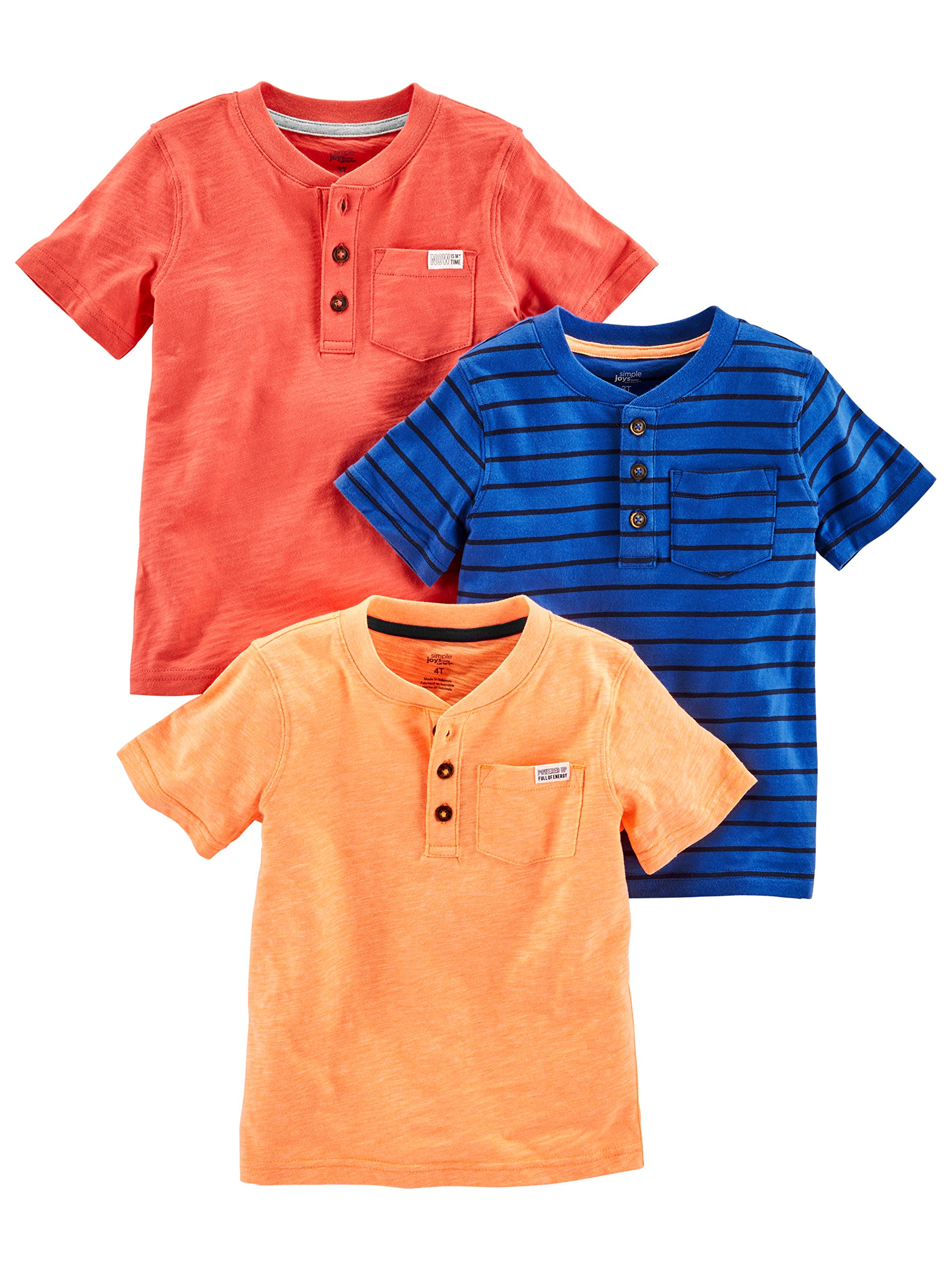 Simple Joys by Carter's Baby Boys' Toddler 3-Pack Short Sleeve Henley, Orange, Blue, Red, 4T