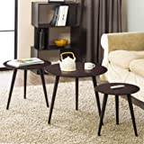 Homury Coffee Table Round Set of 3 End Side Table Wood Nesting Corner Table Sofa Table Tea Table ,Brown
