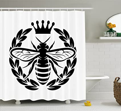 Ambesonne Queen Bee Shower Curtain Monochrome Wreath Insect And Crown Abstract Silhouette Ruler Of