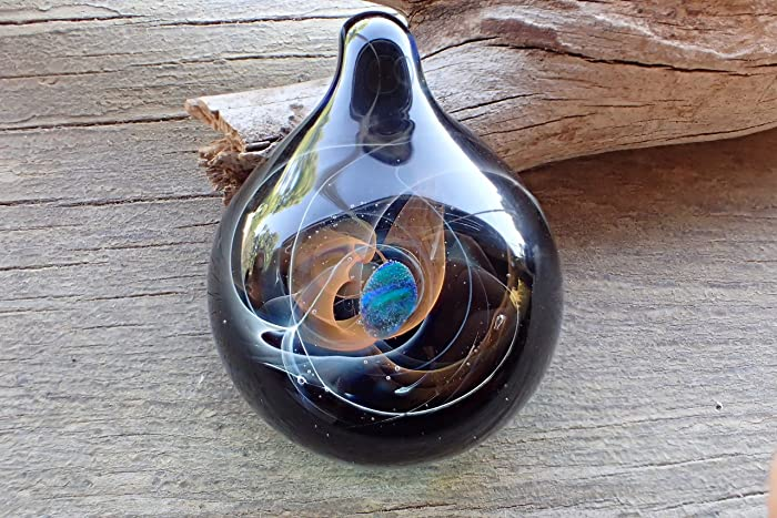 24kgold and silver fire smokey energy galaxy pendant necklace heady glass pendantblown glass - Heady Glass Pendants