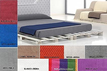 Regalitostv (230 Azul/Marino) SEDELLA* Colcha Multiusos Foulard Plaid Liso para Cama o sofá Garantizada Fabricado EN ESPAÑA (230_x_260_cm, ...