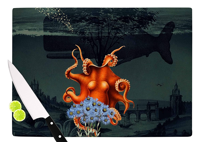 Multicolor KESS InHouse Suzanne CarterUnder The Deep Blue Sea Green Orange Cutting Board 11.5 x 15.75