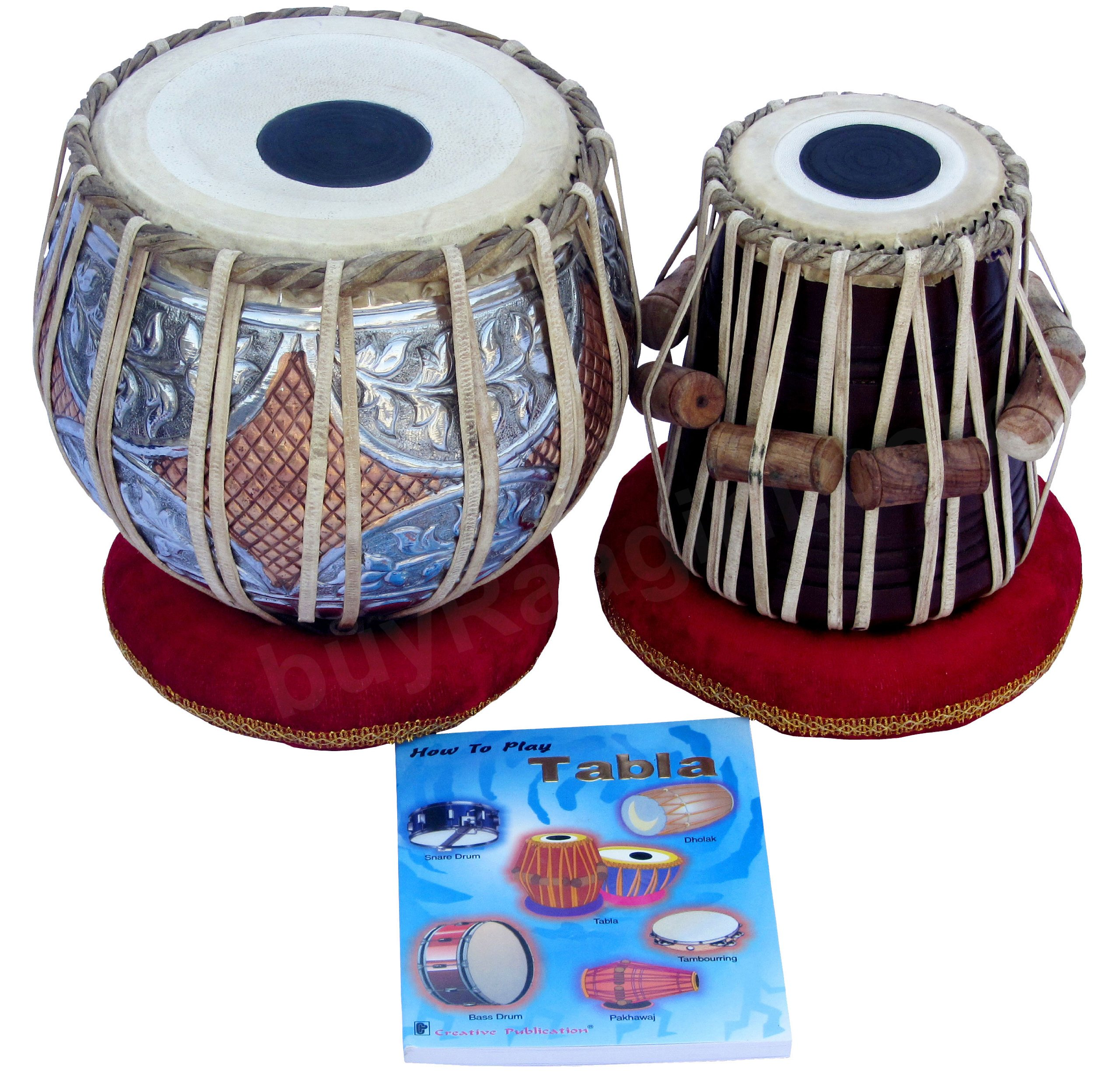 Maharaja Musicals Tabla Drum Set, Concert Quality, 4.5Kg Copper Bayan - Double Color, Sheesham Dayan Tuneable To C#, Padded Bag, Book, Hammer, Cushions & Cover, Indian Hand Drums (PDI-GJ) by Maharaja Musicals
