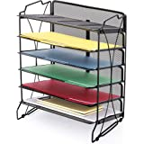CAXXA 6 Trays Stackable Mesh Desktop File and Letter Organizer | Office and Home, Black
