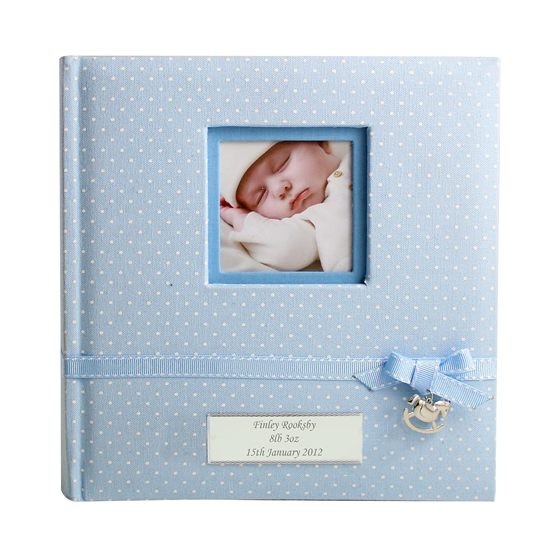 Personalised blue polka dot photo album christening gift boy baby personalised blue polka dot photo album christening gift boy baby newborn amazon kitchen home negle Gallery