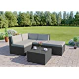 Abreo Rattan Modular Corner Sofa Set Garden Conservatory Furniture 5 To 9 Pcs (Faro, Solid Dark Grey with Light Cushions)