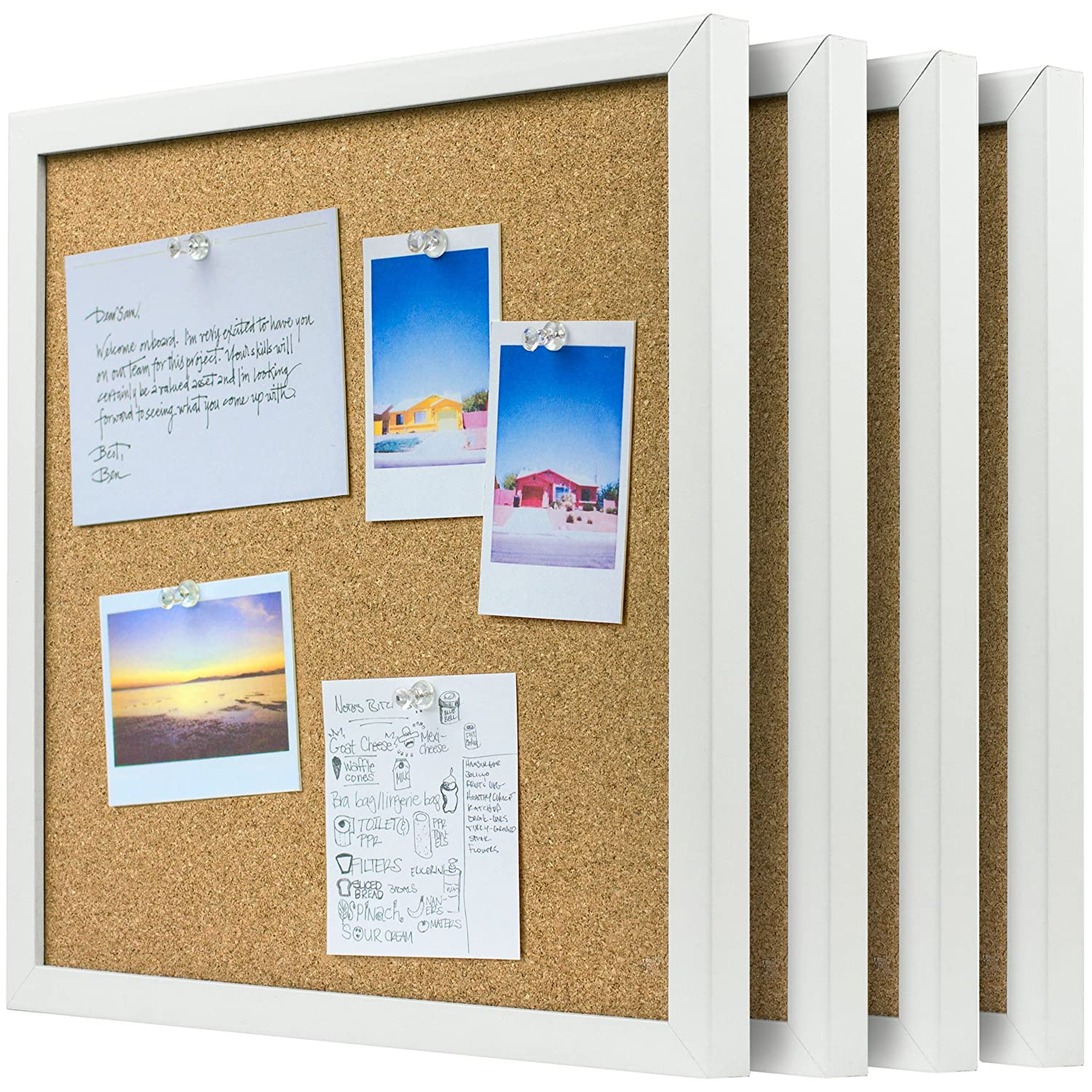 OrgaNice Cork Board/Bulletin Board - 4x Beautifully Framed 12 x 12-Inch Tiles - Reinforced Frame - ZERO Flaking - Start Your Dream Project - Mounting Hardware Included - BONUS 10x Push Pins PGCORKBOARD