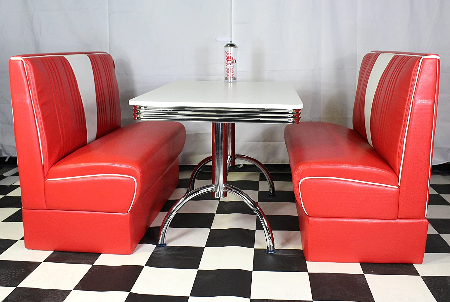 Just-Americanacom American Diner Furniture 50s Style Retro White Table And Red Nashville Booth Set