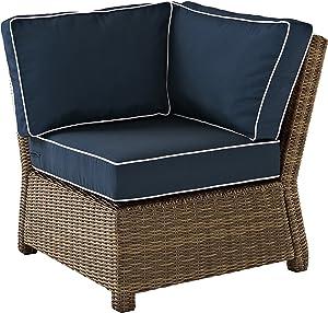 Crosley Furniture KO70018WB-NV Bradenton Outdoor Wicker Sectional Corner Chair, Brown with Navy Cushions