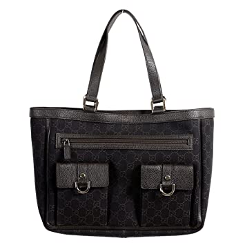 d25593c0b Amazon.com: Gucci Women's Dark Brown GG Print Canvas Leather Trimmed Abbey  Pocket Tote Bag: ONE MODA