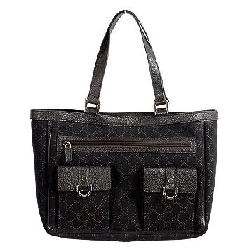 f4c7acdd6ce2 Amazon.com: Gucci Women's Dark Brown GG Print Canvas Leather Trimmed Abbey  Pocket Tote Bag: ONE MODA