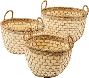 Artera Round Handwoven 3 Piece Wicker Basket Set with Handles for Towels, Plant, Crafts, Toy. Miscellaneous Items, Picnic Stuffs or Laundry Baskets, Large Seagrass/Palm Leaf Baskets Set of 3