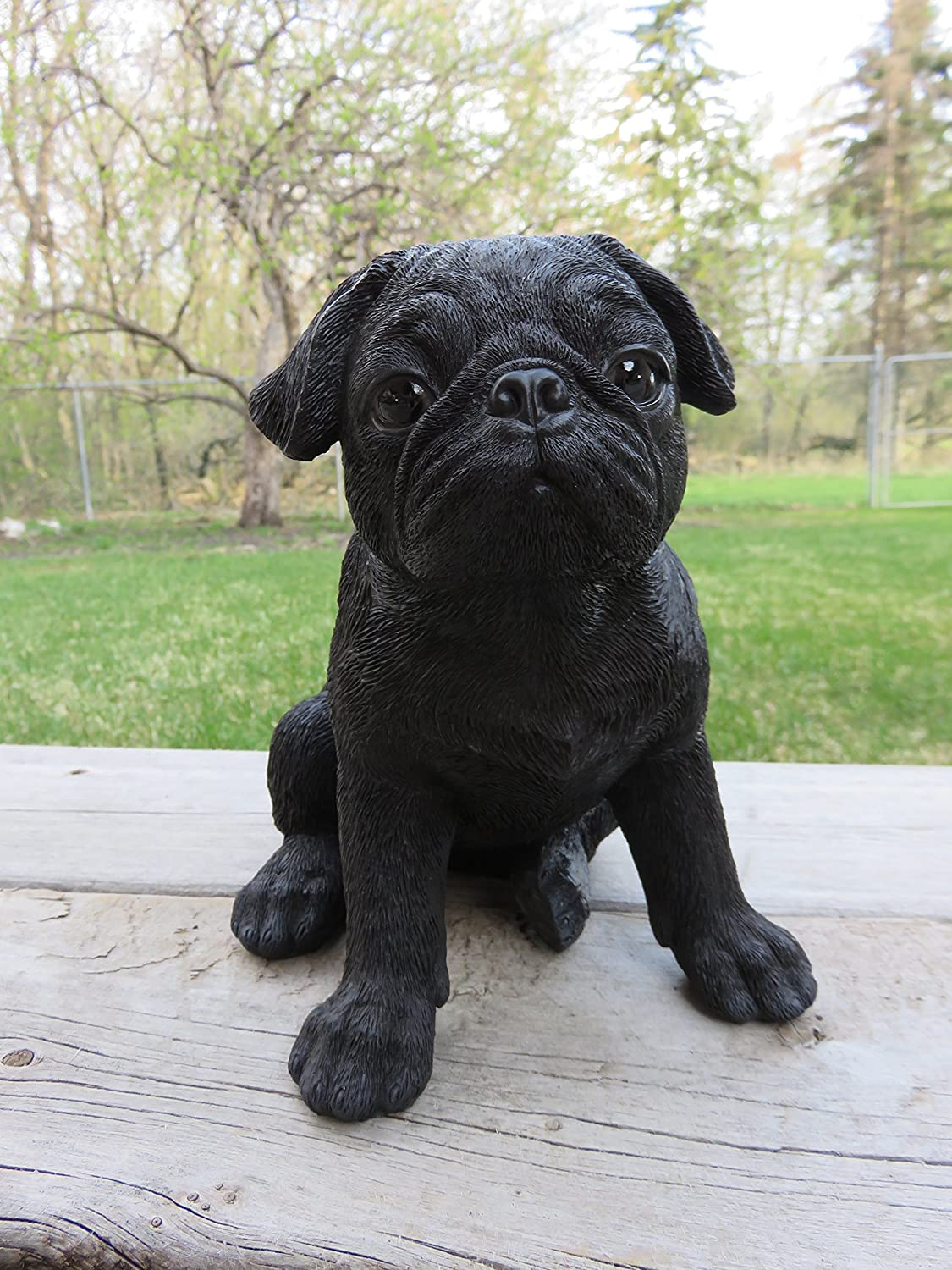 ChosenTreasures4You Black Pug Puppy Dog Figurine Sitting