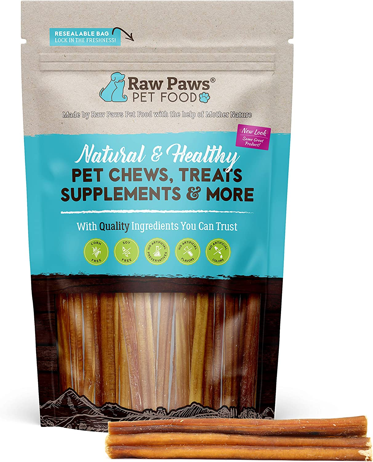 Raw Paws Thin Bully Sticks 6 inch - Small Bully Sticks for Puppies - Grass Fed, No Hormones, Free Range Cows - Bull Pizzle Sticks - Puppy Bully Bones for Small Dogs - Skinny Steer Sticks