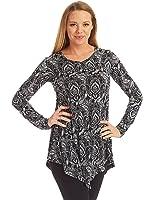 MBJ Womens Long Sleeve Handkerchief Hem Tunic Top - Made in USA