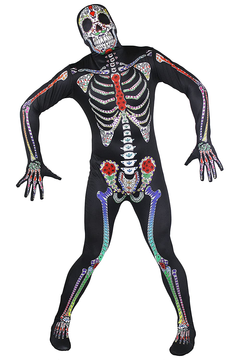 DAY OF THE DEAD SKELETON SUIT ADULT MENS MEXICAN VOODOO HALLOWEEN COSTUME