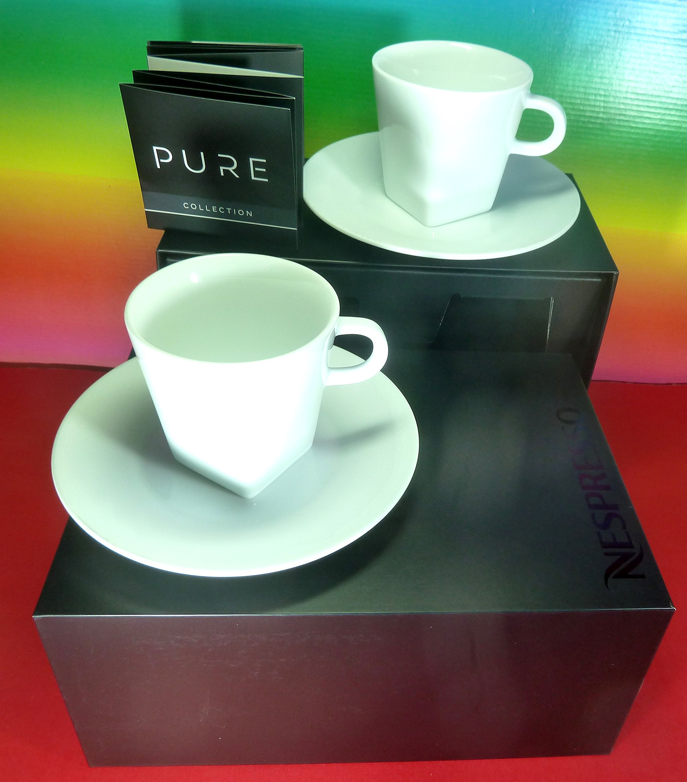 Nespresso 2 Pure Lungo Cups & 2 saucers , White , Big Game Design , In Brand Luxury Gift Box , Wonderful , New