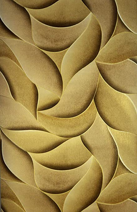 Vonzo 3D Golden Wallpaper For Home And Kitchen Wall Cover Area 57 Sqft