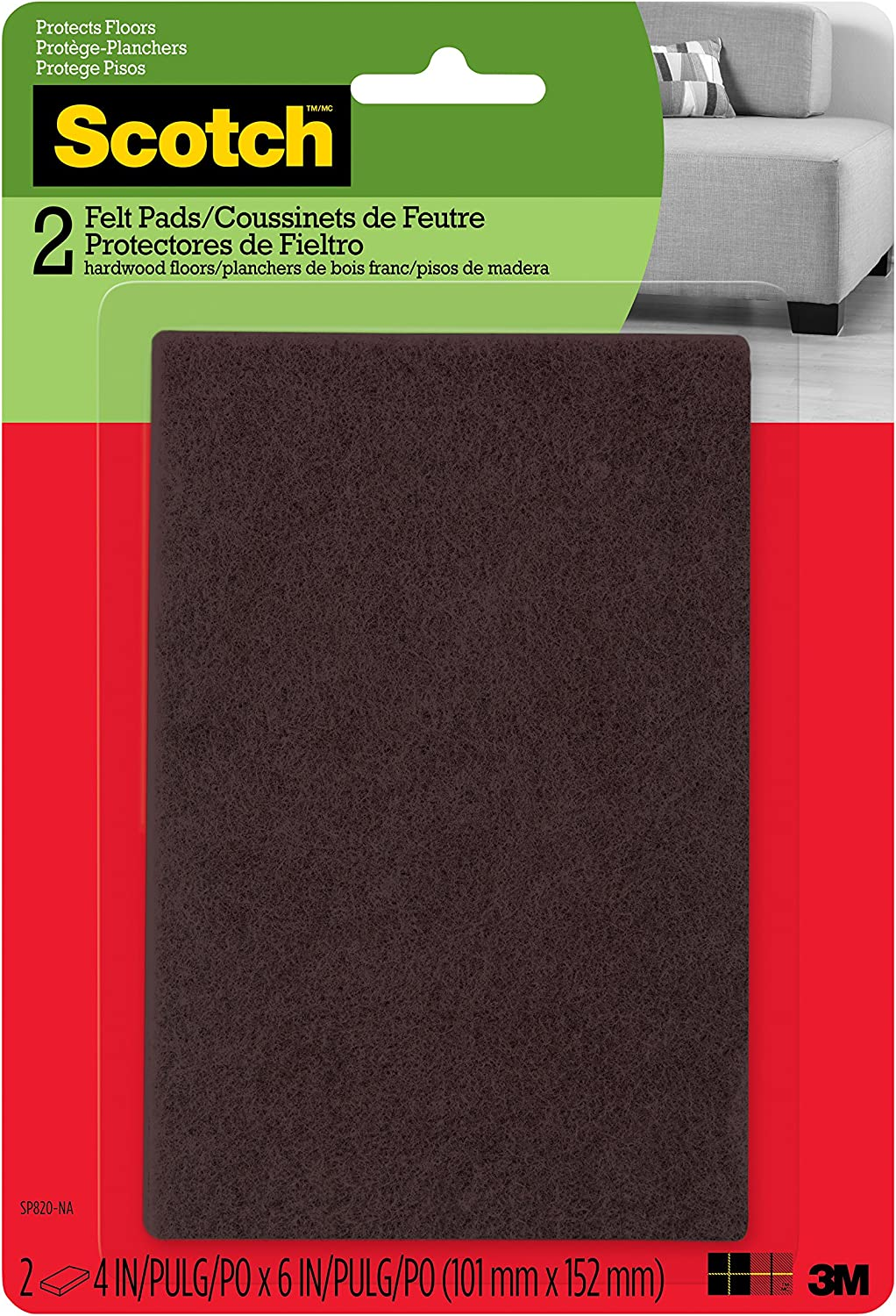 Scotch Felt Pads, Rectangle, Brown, 4 in. x 6 in., 2 Pads/Pack (SP820-NA)