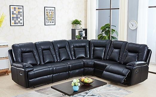 SC Furniture Ltd Negro Alta Calidad Piel Gel sofá de Esquina ...
