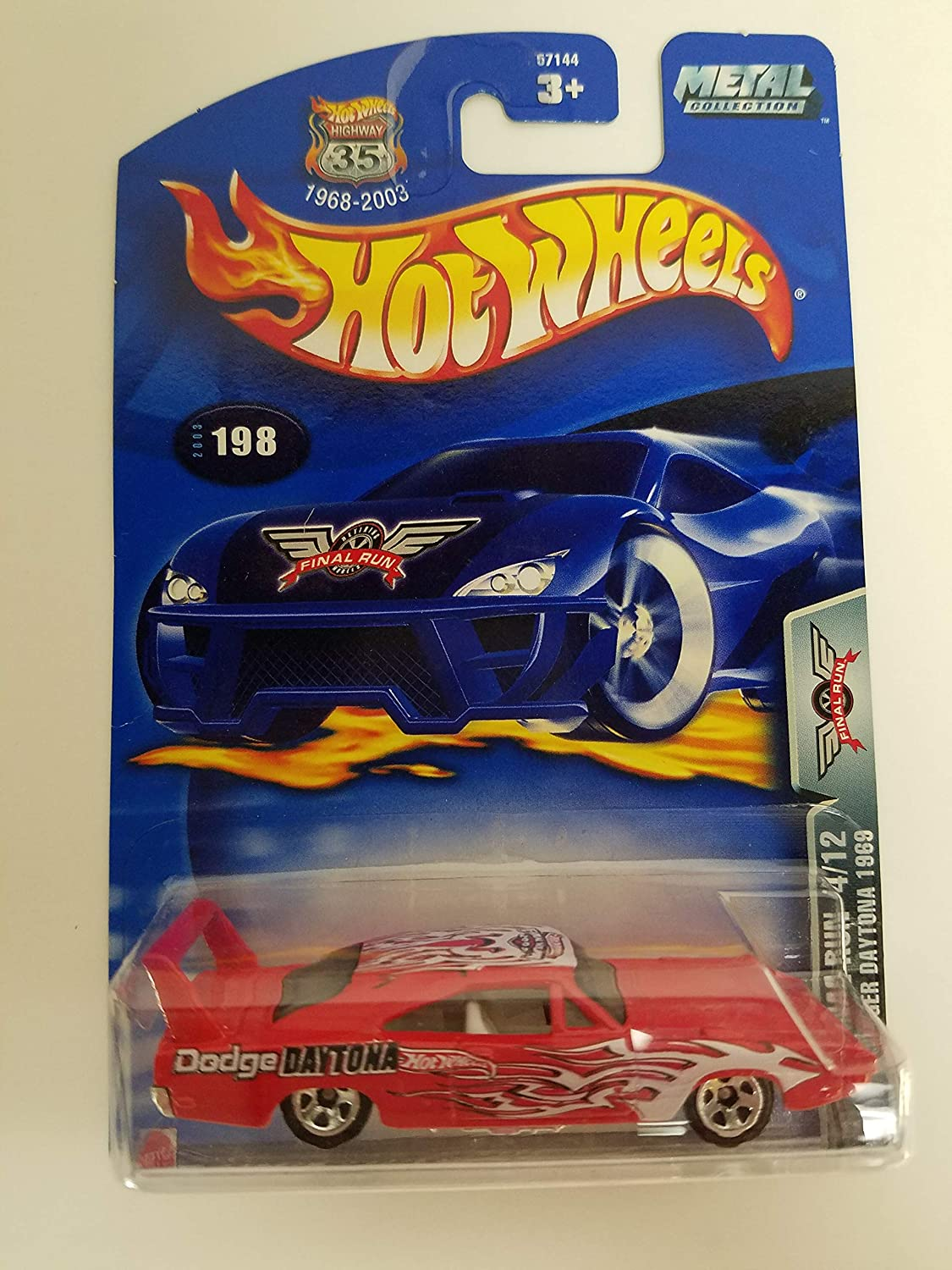 Dodge Charger Daytona 1969 Final Run 4/12 2003 Hot Wheels diecast car No. 198