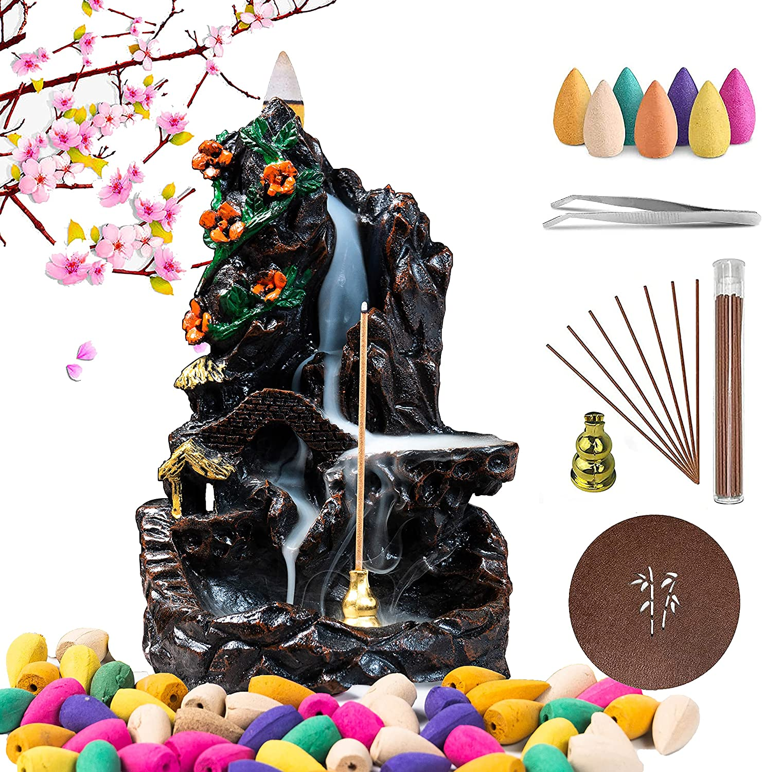 ZWCIBN Backflow Incense Burner, Waterfall Incense Burner with 120 Incense Cones and 30 Incense Stick, Mountain Tower Incense Holders for Home Decor Aromatherapy Ornament.