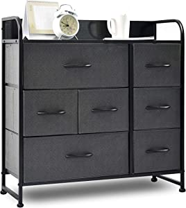 charaHOME Drawer Dresser(Gray) Dresser Organizer with 7 Drawers, Fabric Dresser Storage Tower for Bedroom, Hallway, Entryway, Closets, Sturdy Steel Frame, Wood Top & Handles