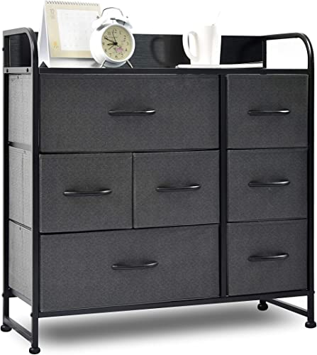 charaHOME Drawer Dresser Gray Dresser Organizer with 7 Drawers, Fabric Dresser Storage Tower for Bedroom, Hallway, Entryway, Closets, Sturdy Steel Frame, Wood Top Handles
