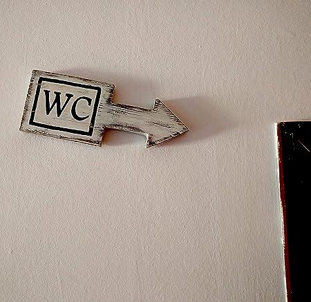 MariusCrafts Cartel Madera Decoracion, Frases Personalizadas, Vintage o Rustico Hechos a Mano. Flecha señalizacion WC