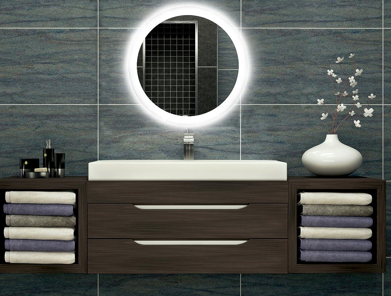 Bilderdepot24 Runder beleuchteter LED Spiegel Badspiegel Wandspiegel mit Beleuchtung - 40 cm O-LED_FI