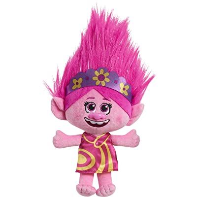 "Trolls World Tour DreamWorks Festival Poppy Plush Doll 8"" Tall Yellow Pink Dress Purple Headband Officially Licensed: Toys & Games"