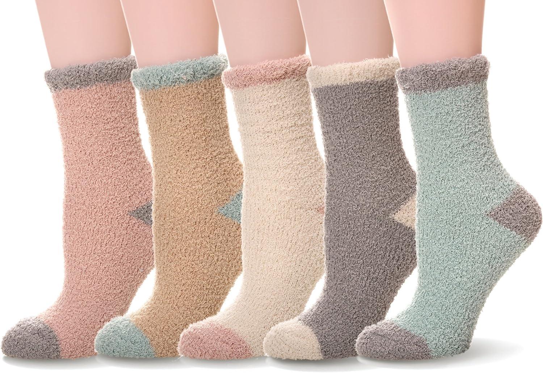 Women's 5 pairs Super Soft Microfiber Fuzzy Winter Warm Slipper Home Socks
