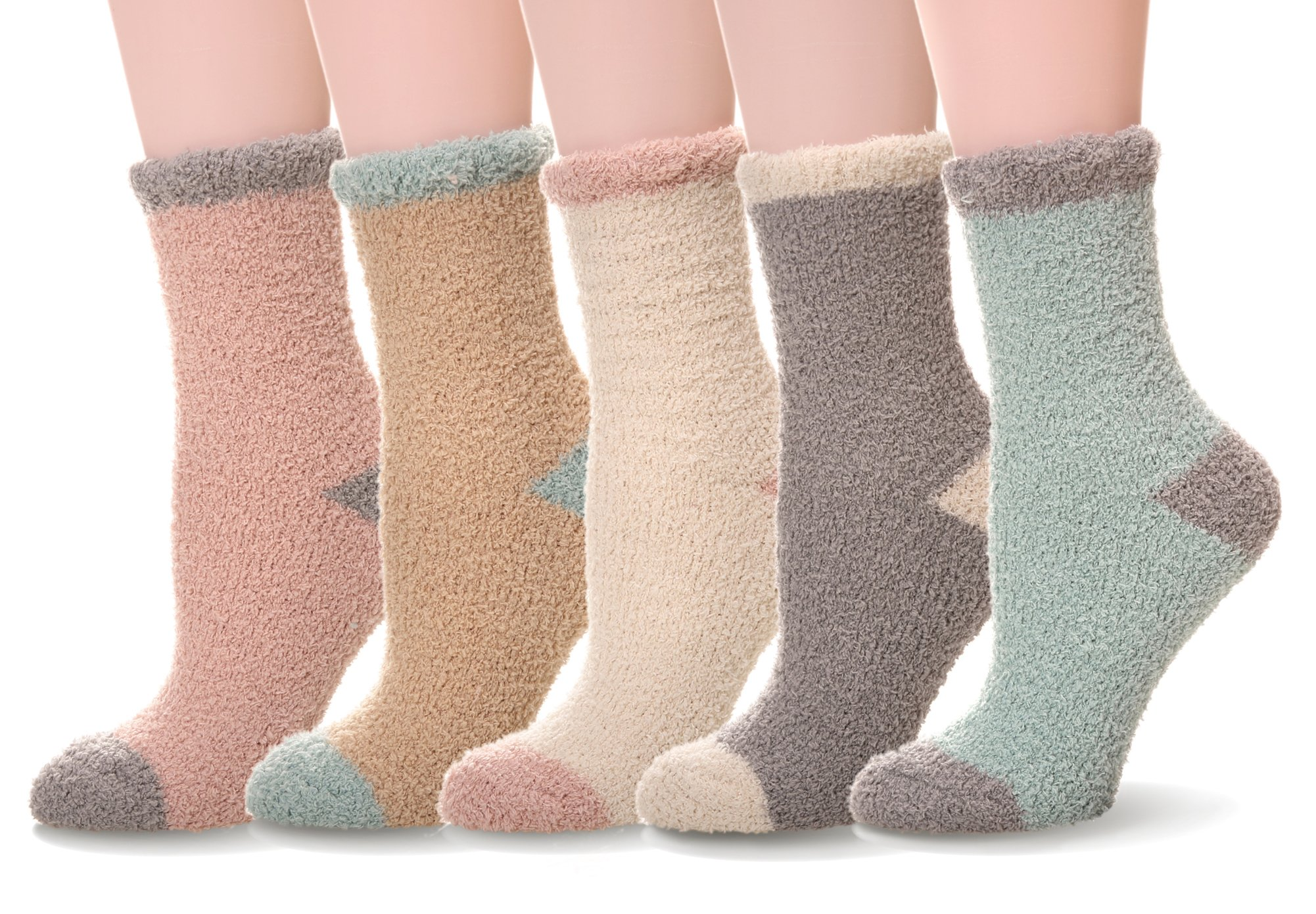 WENER Women's Womens 5 pairs Super Soft Microfiber Fuzzy Winter Warm Slipper Home Socks (Solid color)