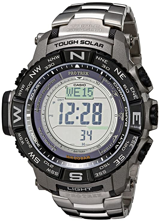 3c7ad5278c2 Amazon.com  Casio Men s Pro Trek PRW-3500T-7CR Tough Solar Triple Sensor  Digital Sport Watch  Casio  Watches