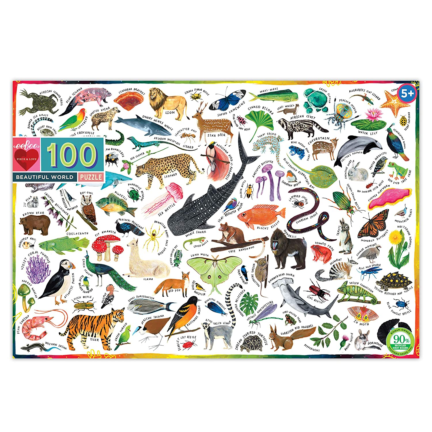 100 Pieces eeBoo Beautiful World Jigsaw Puzzle for Kids