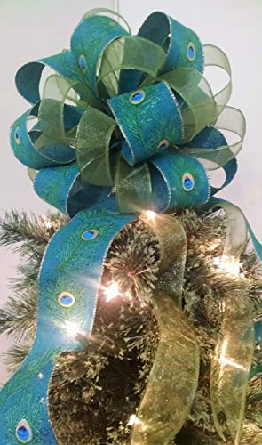 christmas tree topper peacock christmas tree topper bow holiday decoration bow 12 - Peacock Christmas Tree Topper