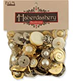 Buttons Galore HAB109 Haberdashery Button, Gold/Silver, Pack of 100