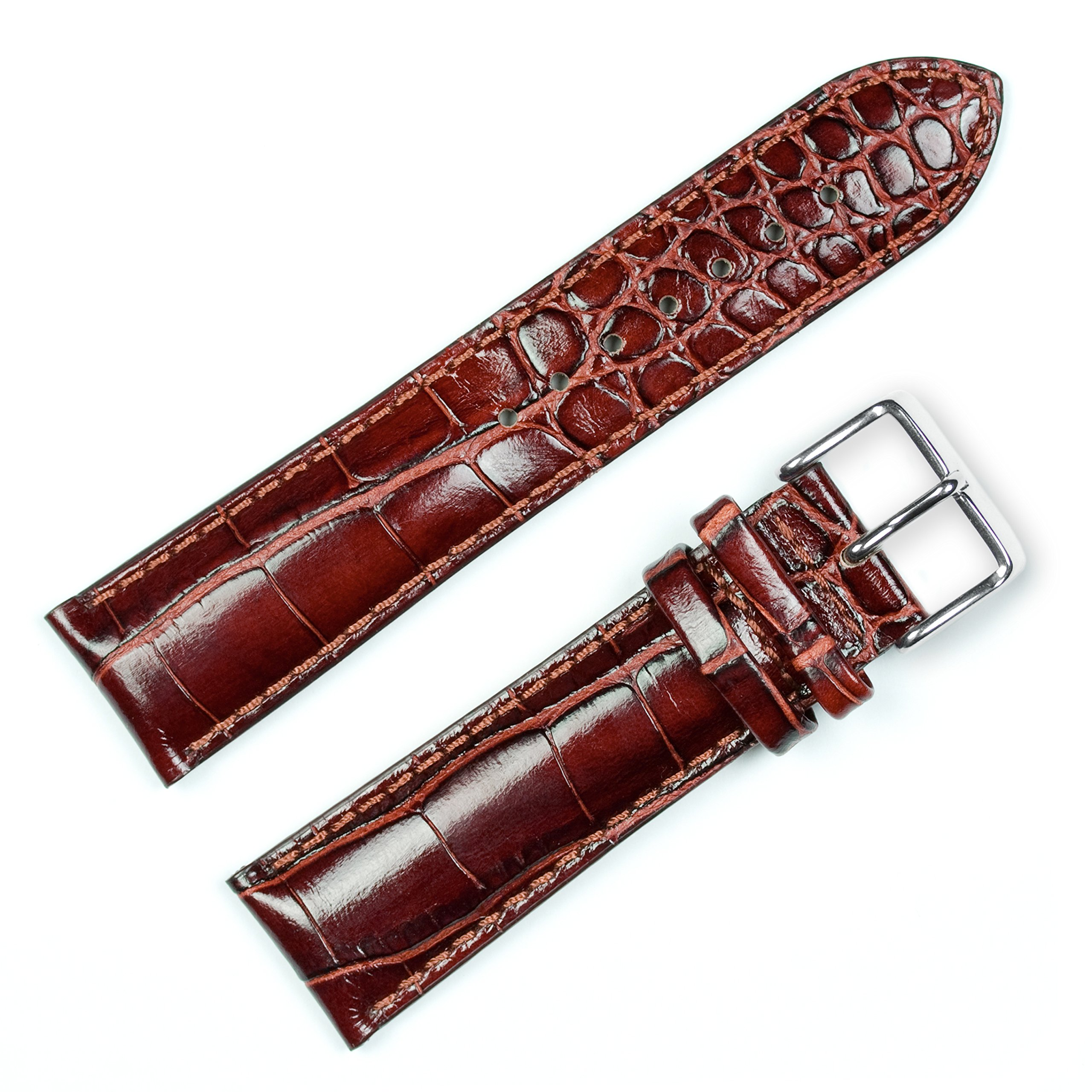 Crocodile Grain Watchband (Chrono) Havana 20mm Long Watch band - by deBeer