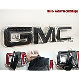GMC Sierra / Yukon Black Carbon Fiber Front Grill Emblem Overlay Wrap Kit (07-17)