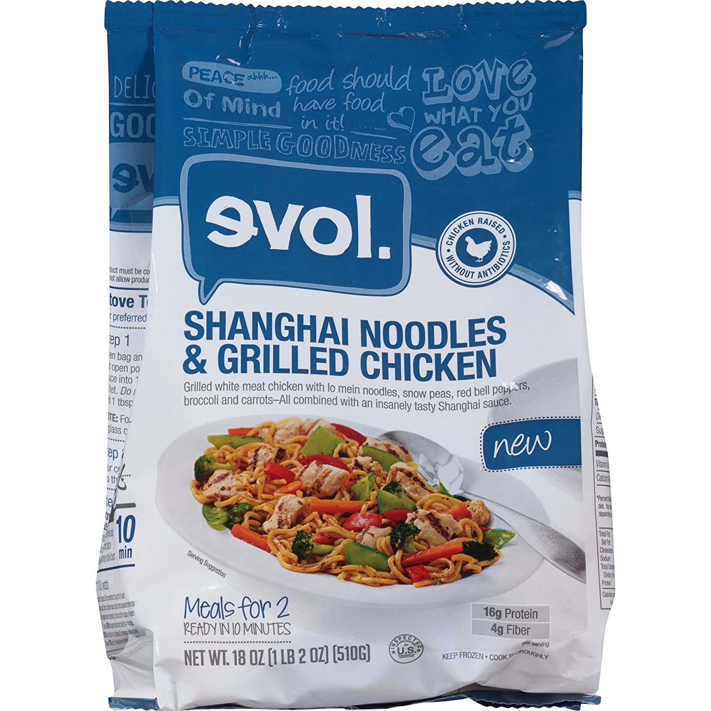 Evol Shanghai Noodles & Grilled Chicken, 18 Ounce (Frozen): Amazon ...