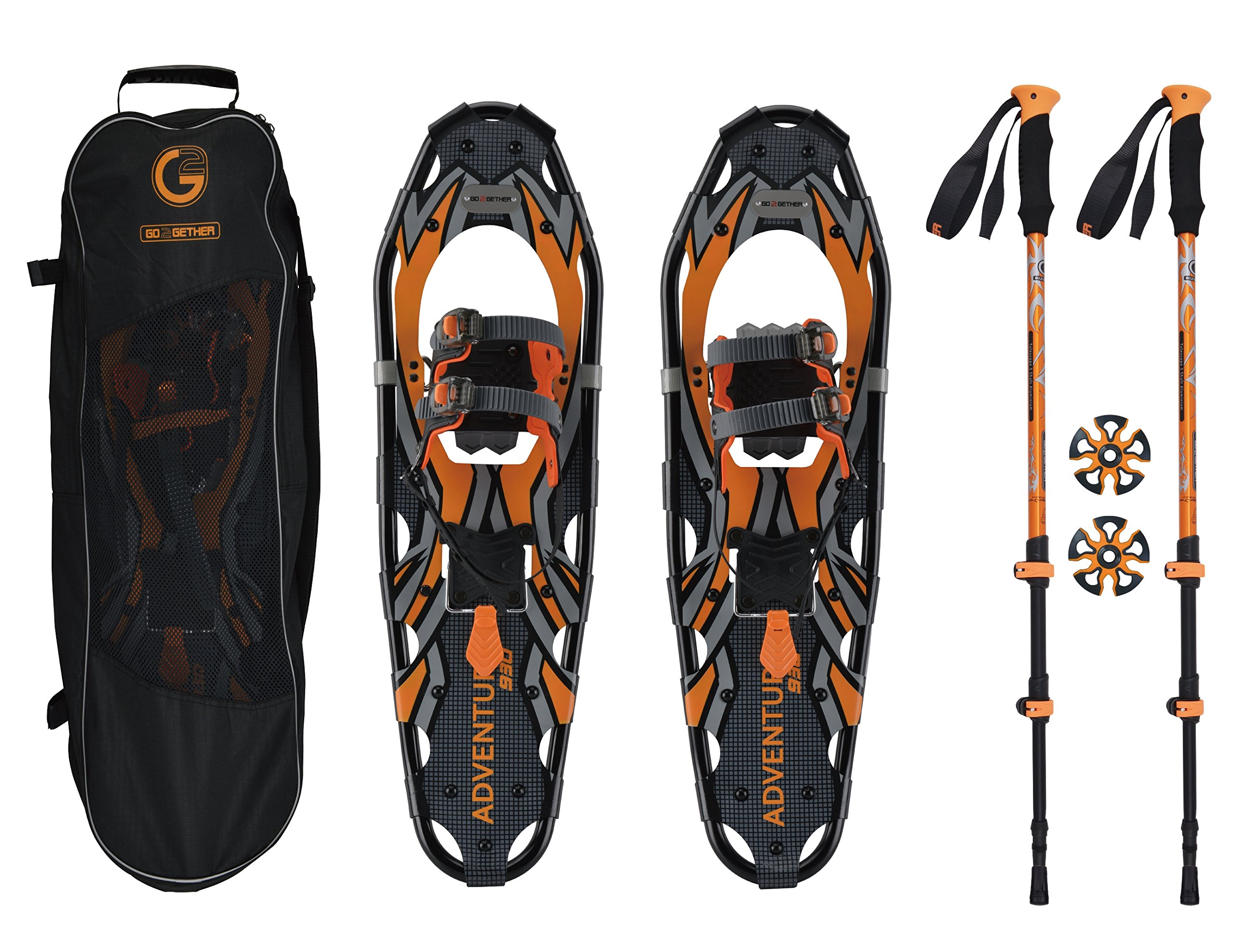 Go2gether Snowshoes Kit for Adult (30 inches, Optimized Weight Range up to 250lb) by G2 GO2GETHER