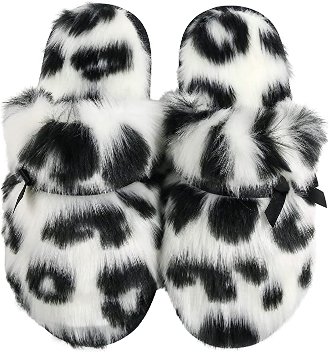 HOS Comfort CLAIRE Ladies Memory Foam Plush Textile House Slippers Mules Leopard