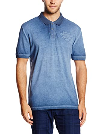 0885c6b43879 TOM TAILOR Herren Poloshirt Overdyed Polo with Chest Badge, Blau (real Navy  Blue 6593