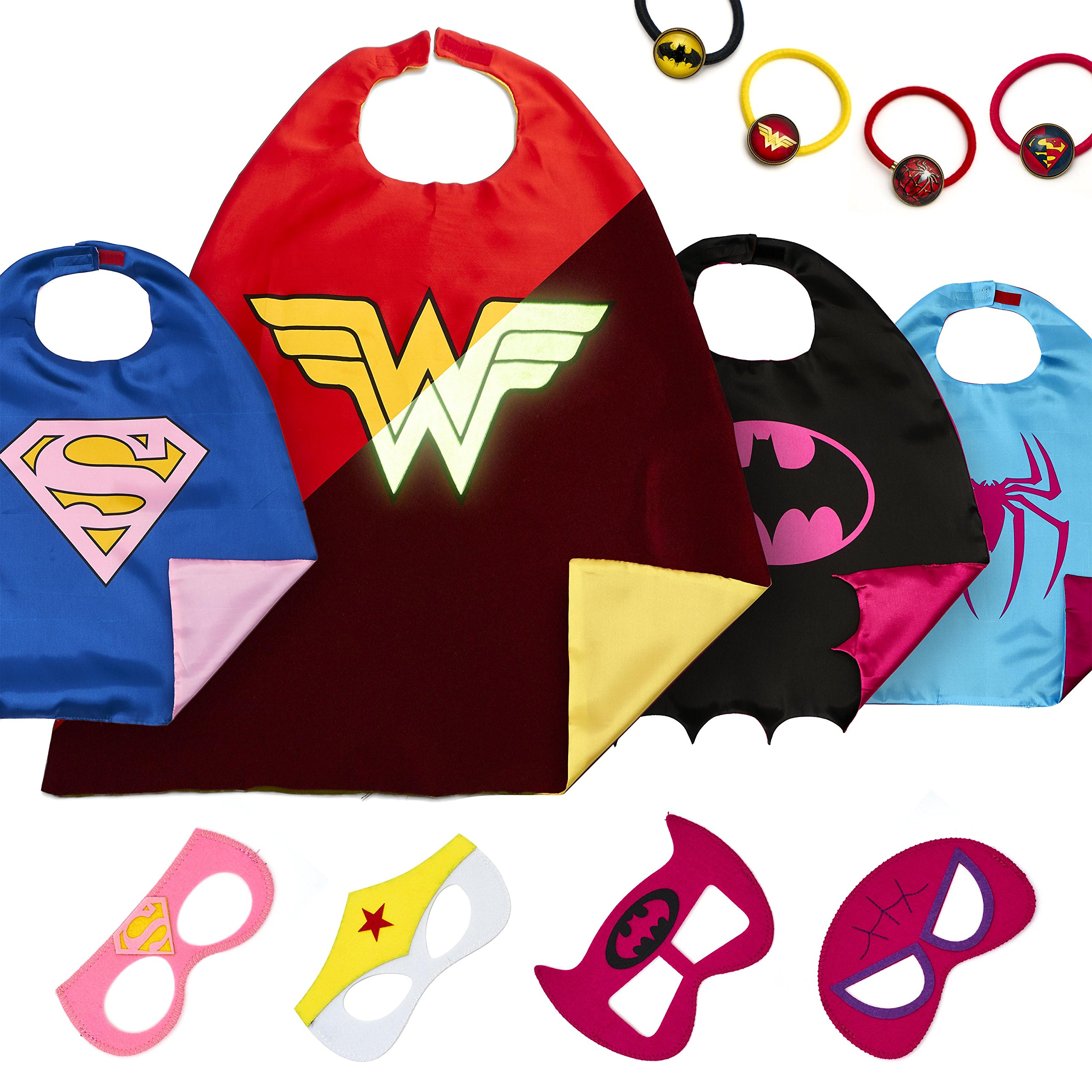 Dropplex 4 Superhero Capes for Kids - Super Hero Toys & Costumes Birthday Party Supplies (Girls)