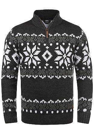 e0ee46c56997 Solid Norwin Herren Weihnachtspullover Norweger-Pullover Winter  Strickpullover Troyer Grobstrick mit Stehkragen, Größe