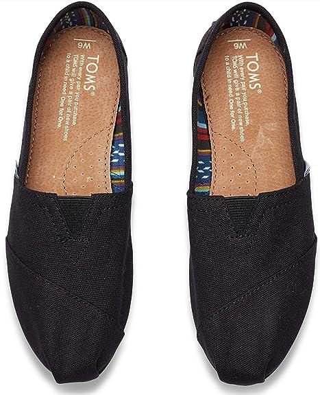 Amazon.com | Toms Womens 10002472 Canvas Alpargata Flat, Black, 8 M US | Loafers & Slip-Ons