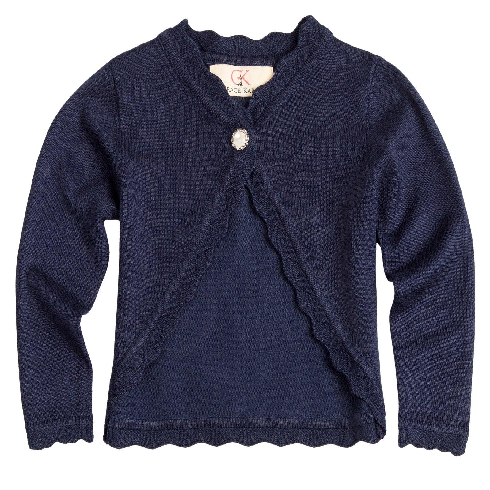 Girls Cotton Coat Long Sleeve Lace Shawl 6-7yrs AM1019-2