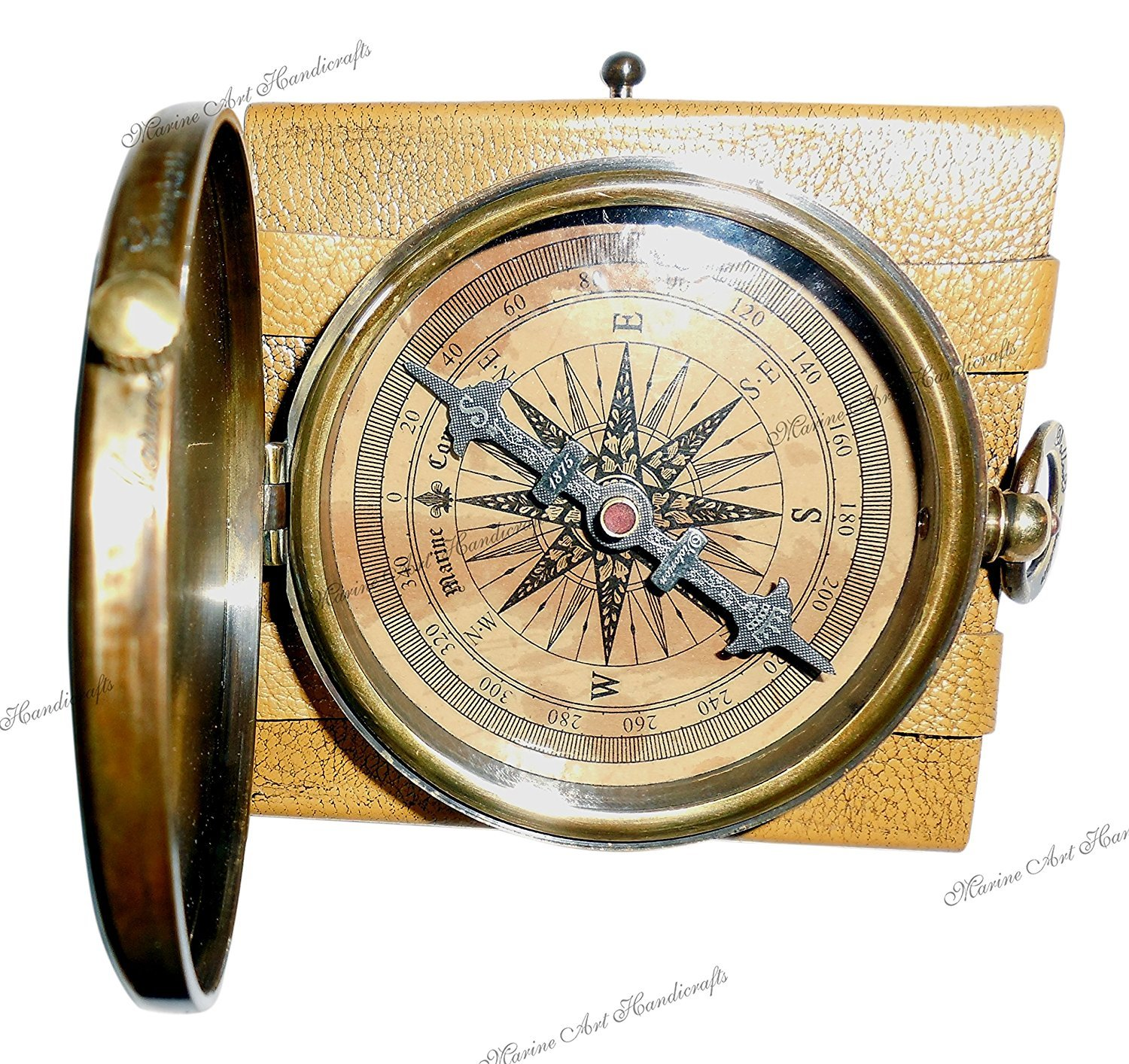 ''Robert Frost Poem'' Best Christmas Gift Engraved Brass Compass with Embossed Needle & Leather Case. C-3240 NAUTICALMART INC