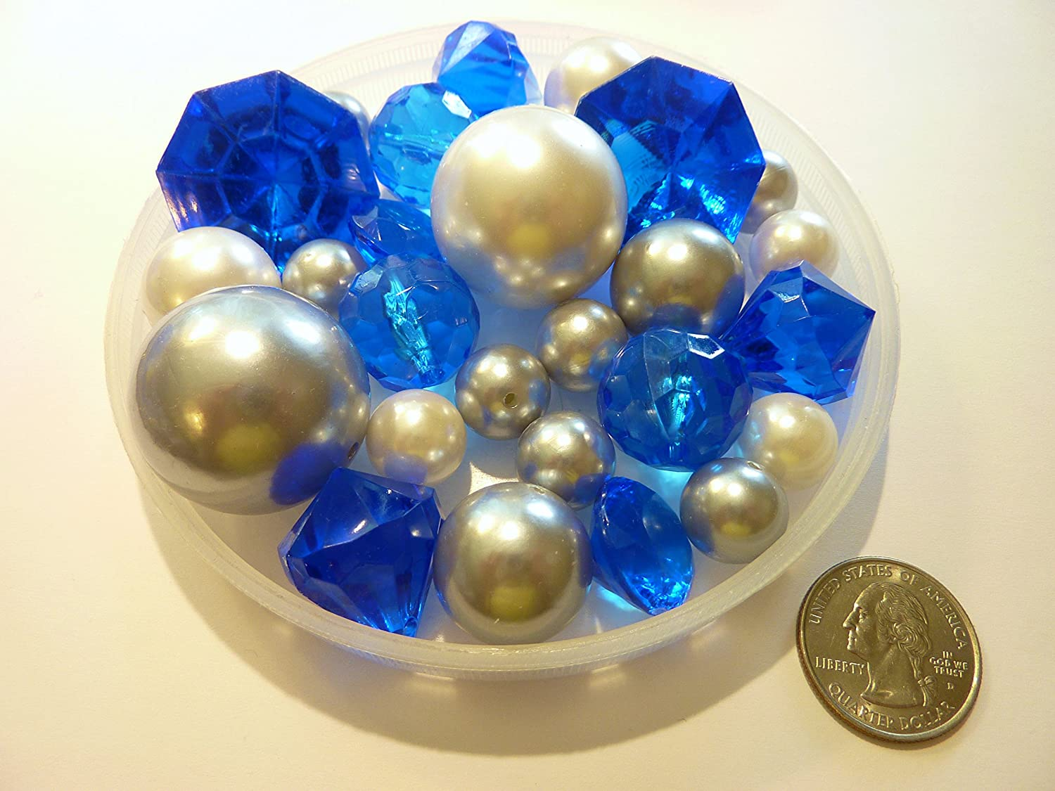 Amazon 80 unique jumbo assorted sizes royal blue gems amazon 80 unique jumbo assorted sizes royal blue gemscobalt blue gems white pearls silver pearls value pack vase fillers to float the pearls floridaeventfo Image collections