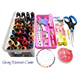 Goelx All Sewing materials combo with multiple accessories- threads-colorful buttons-scissor-needles-boobins-tailor marker-stitch opener-bobbin case-craft cutter-measuring tape-hooks-tich buttons